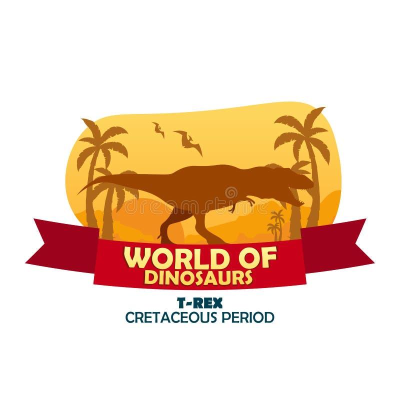 Sztandaru świat dinosaury prehistoryczny świat T-rex Cretaceous okres ilustracja wektor