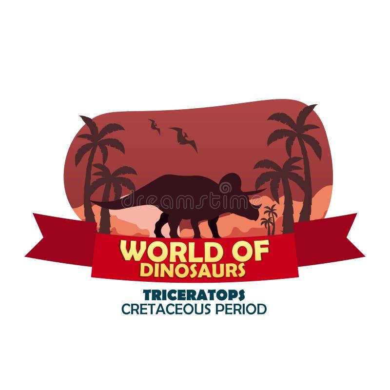 Sztandaru świat dinosaury prehistoryczny świat triceratops Cretaceous okres ilustracja wektor
