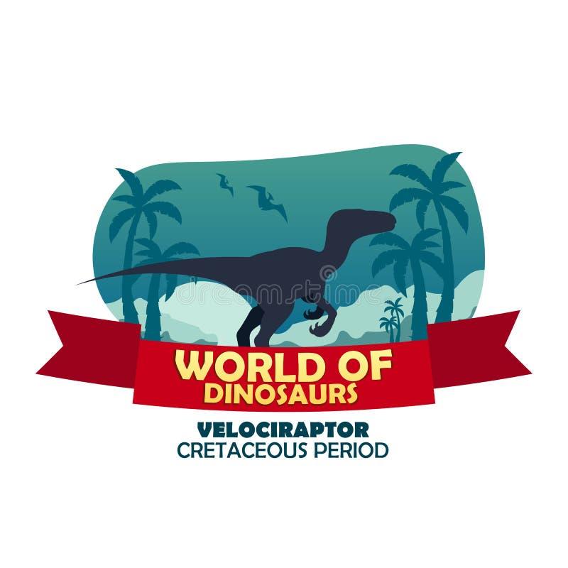 Sztandaru świat dinosaury prehistoryczny świat Velociraptor Cretaceous okres ilustracji