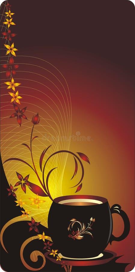 sztandaru bukieta filiżanki dekoracyjni kwiaty royalty ilustracja