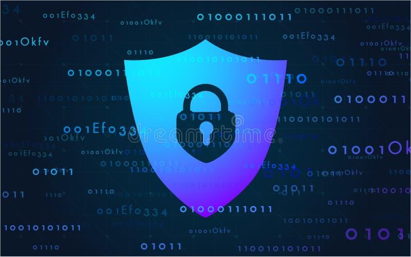 Sztandaru cyber ochrony dane na internecie Wektorowa ilustracja w nowożytnym stylu zdjęcia royalty free