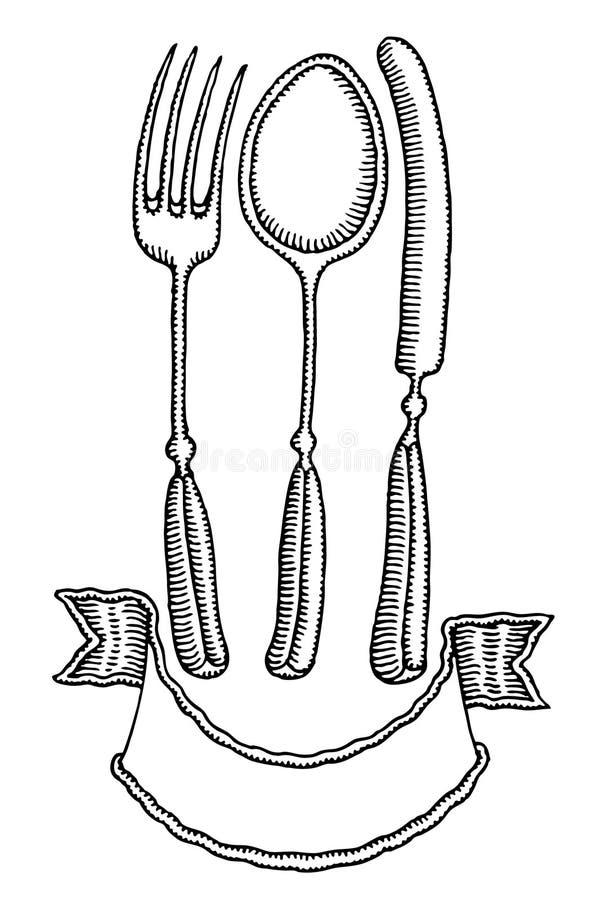 sztandaru czarny cutlery rysunku ręki biel ilustracji