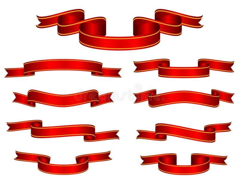 sztandaru czerwony tasiemkowy setu wektor ilustracja wektor