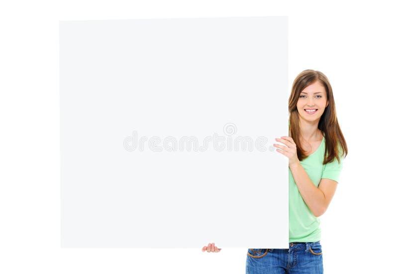 sztandaru duży puści żeńscy szczęśliwi mienia potomstwa zdjęcia stock