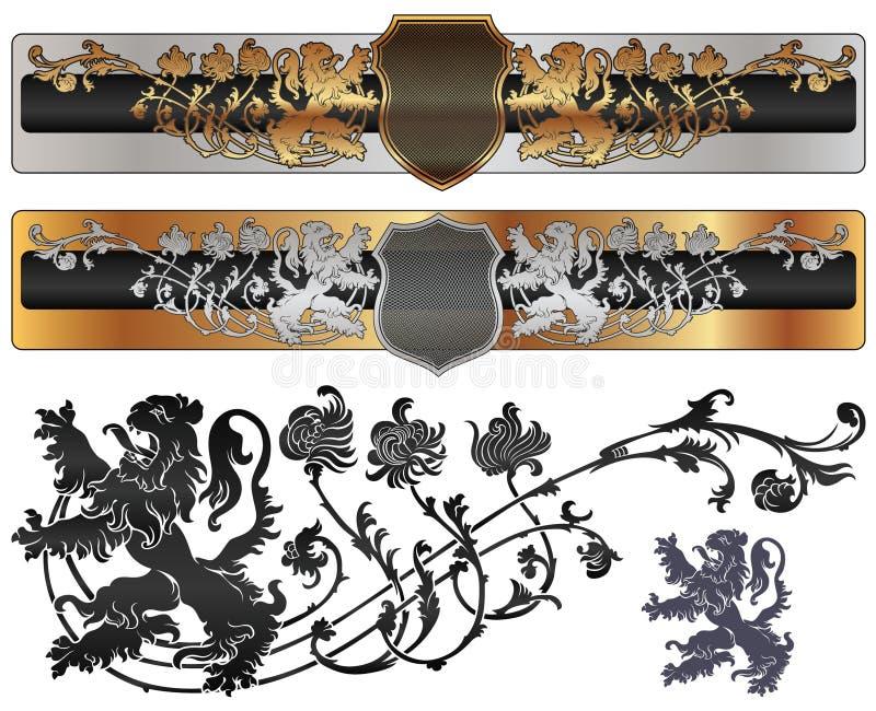 sztandaru foo heraldyczny średniowieczny setu styl royalty ilustracja
