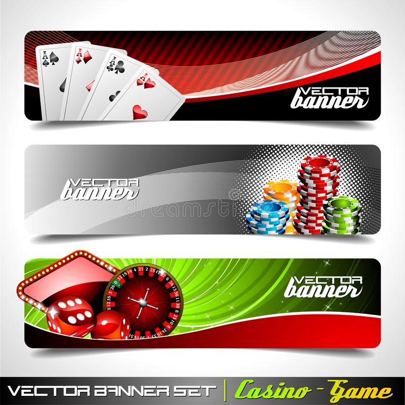 sztandaru kasynowy ustalony tematu wektor