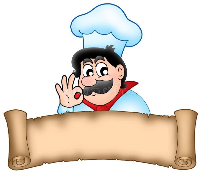 sztandaru kreskówki szef kuchni ilustracja wektor