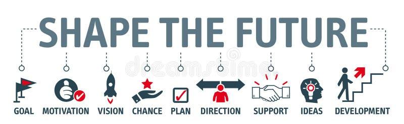 Sztandaru kształt przyszłość - patrzejący dla przyszłości i robi planom ilustracja wektor