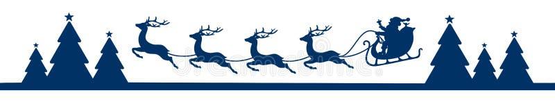 Sztandaru Latający Bożenarodzeniowy sanie Z Lasowym błękitem ilustracja wektor