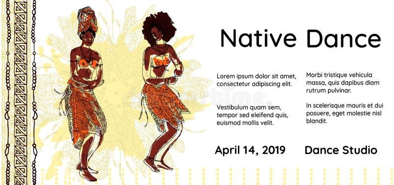 Sztandaru lub plakata szablon dla rodzimy prywatka Dwa plemiennej dancingowej afrykańskiej kobiety na pochodzeniu etnicznym ręka  ilustracji