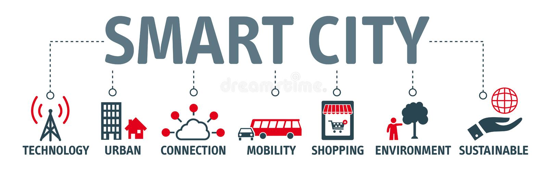 Sztandaru miasta mądrze pojęcie ilustracji