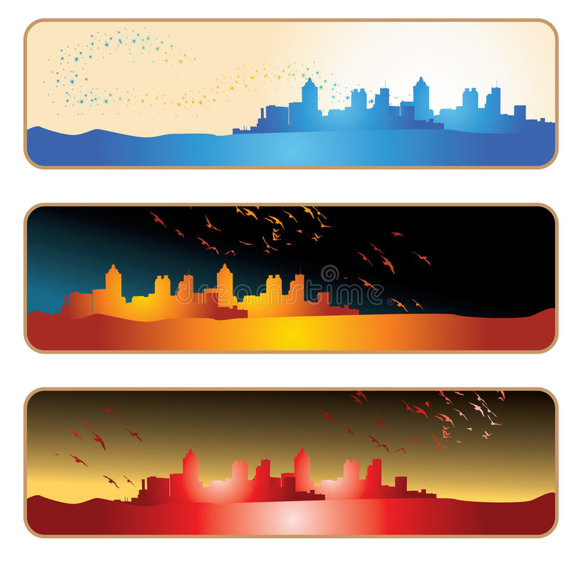 sztandaru miasta sylwetka royalty ilustracja