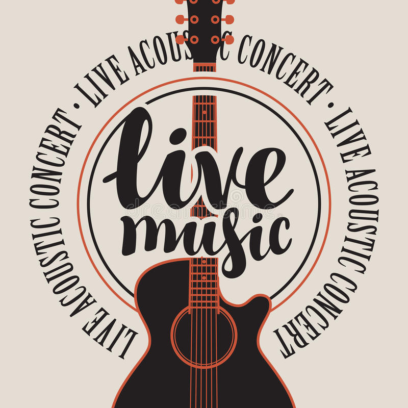 Sztandaru muzyka na żywo z gitarą akustyczną ilustracja wektor