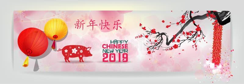 Sztandaru nowego roku zaproszenia chińskie 2019 karty Rok świnia Chińskich charakterów sposobu Szczęśliwy nowy rok royalty ilustracja