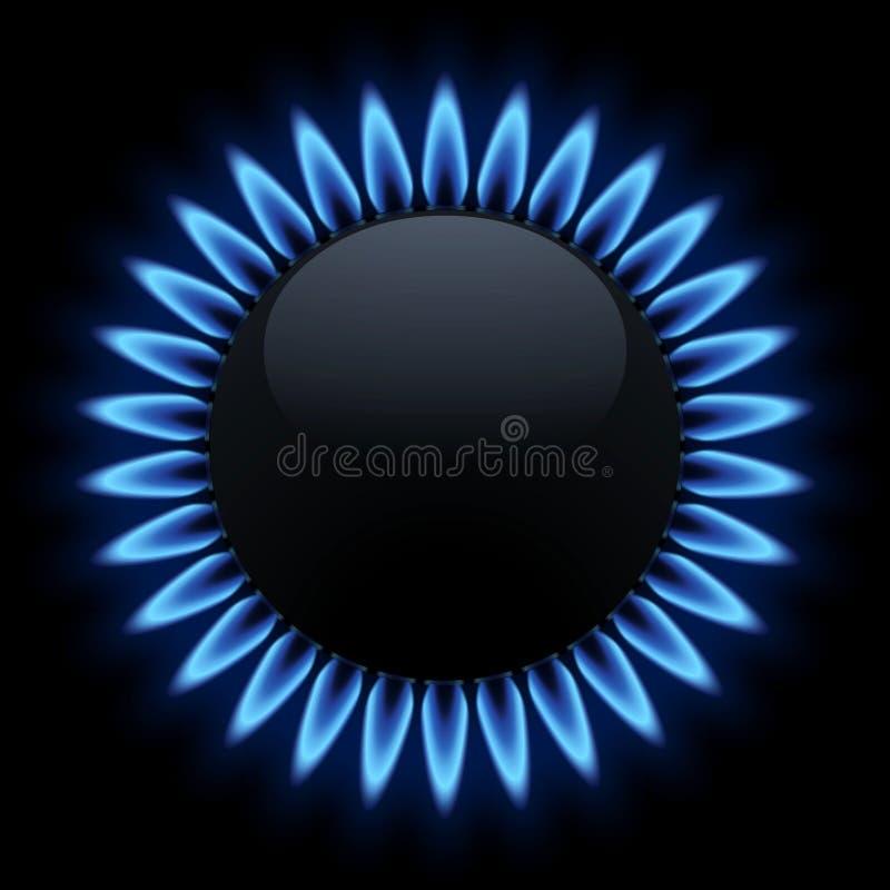 Sztandaru palnik z płomienia gazem naturalnym na czarnym tle ilustracji