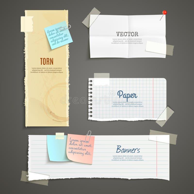 Sztandaru poszarpany papierowy set royalty ilustracja