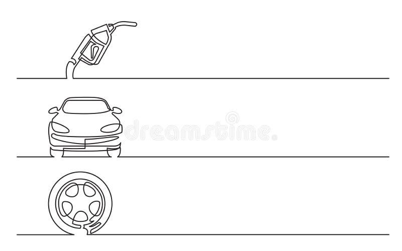 Sztandaru projekt - ciągły kreskowy rysunek biznesowe ikony: benzynowy nozzle, samochód, koło ilustracji