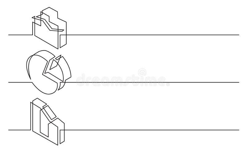 Sztandaru projekt - ciągły kreskowy rysunek biznesowe ikony: biznesowi diagramy i mapy royalty ilustracja