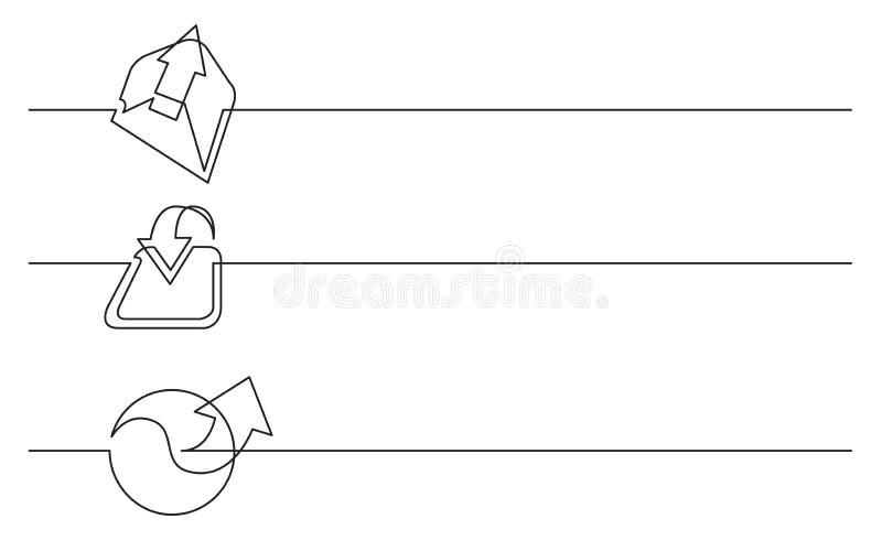 Sztandaru projekt - ciągły kreskowy rysunek biznesowe ikony: otwarci emaile, ściąganie, związek royalty ilustracja