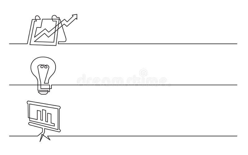 Sztandaru projekt - ciągły kreskowy rysunek biznesowe ikony: prezentacja, żarówka symbol, mapa ekran ilustracji
