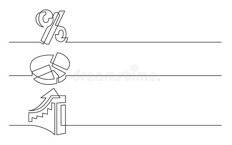 Sztandaru projekt - ciągły kreskowy rysunek biznesowe ikony: procentu znak, pasztetowa mapa, powstający diagram royalty ilustracja