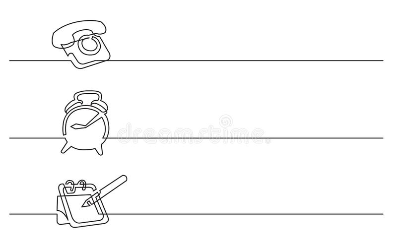 Sztandaru projekt - ciągły kreskowy rysunek biznesowe ikony: telefon, budzik, kalendarz ilustracji