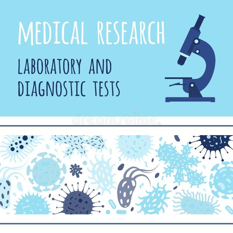 Sztandaru projekt z mikroskopem i zarazkami ilustracji