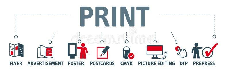 Sztandaru projekta drukowy pojęcie royalty ilustracja