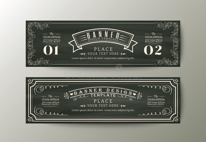 Sztandaru projekta szablon z rocznik kwiecistą ramą na kredowej desce ilustracji
