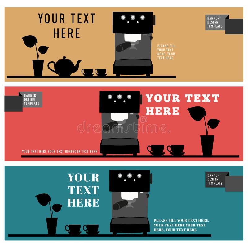 Sztandaru projekta szablonu sklep z kawą ikony cukierniany element ilustracji