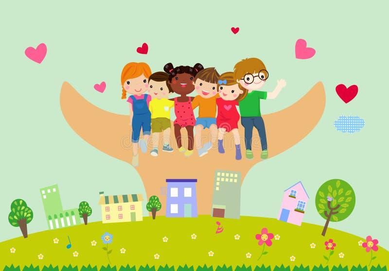 sztandaru pustego miejsca grupy dzieciaków znak royalty ilustracja