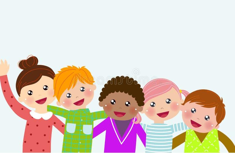 Download Sztandaru Pustego Miejsca Grupy Dzieciaków Znak Ilustracja Wektor - Ilustracja złożonej z szkoła, szczęście: 57662065