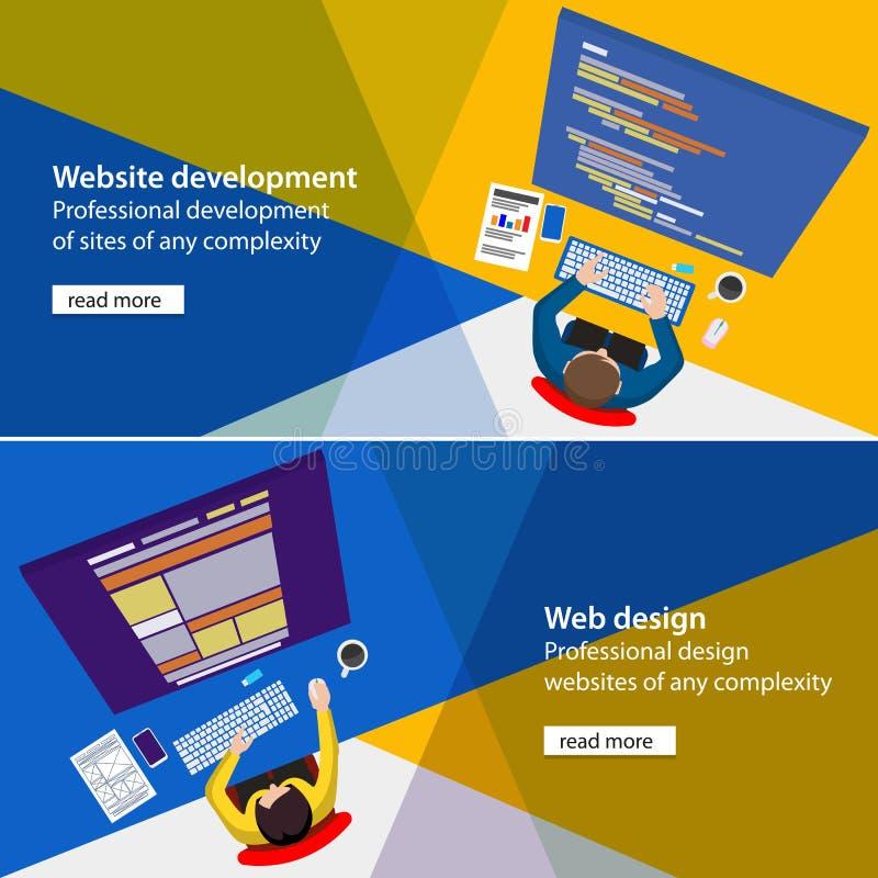 Sztandaru rozwoju i projekta procesu programisty miejsce royalty ilustracja