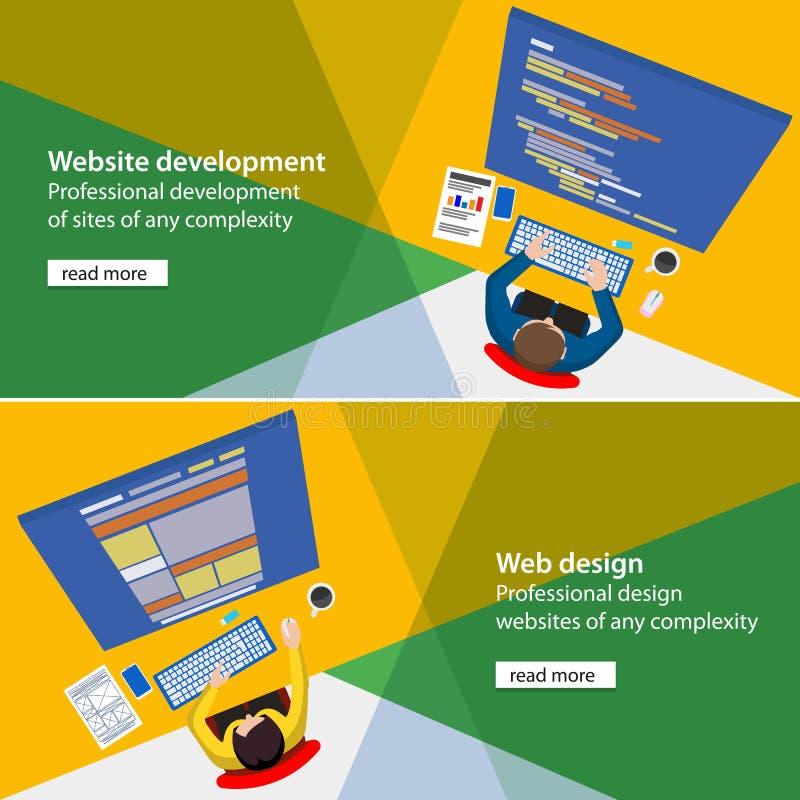 Sztandaru rozwoju i projekta procesu programisty miejsce ilustracja wektor