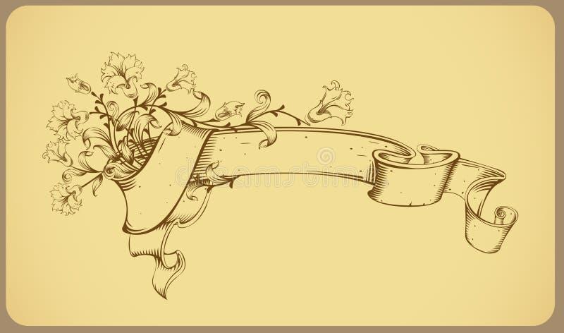 sztandaru rysunku kwiatu linia rocznik ilustracji