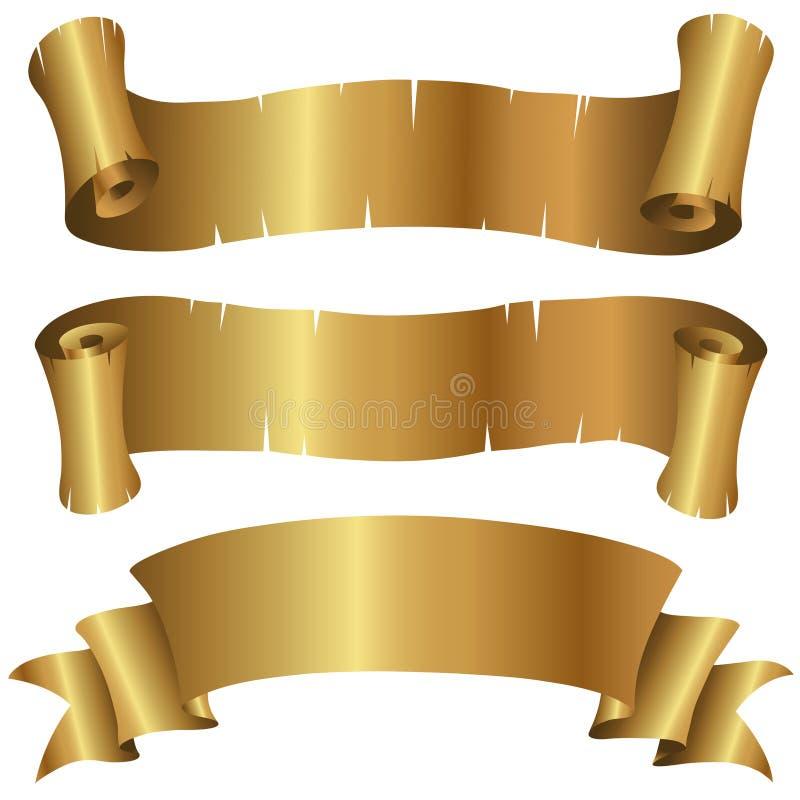 sztandaru set kędzierzawy złoty royalty ilustracja