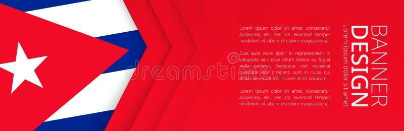 Sztandaru szablon z flagą Kuba dla reklamować podróż, biznes i inny, royalty ilustracja
