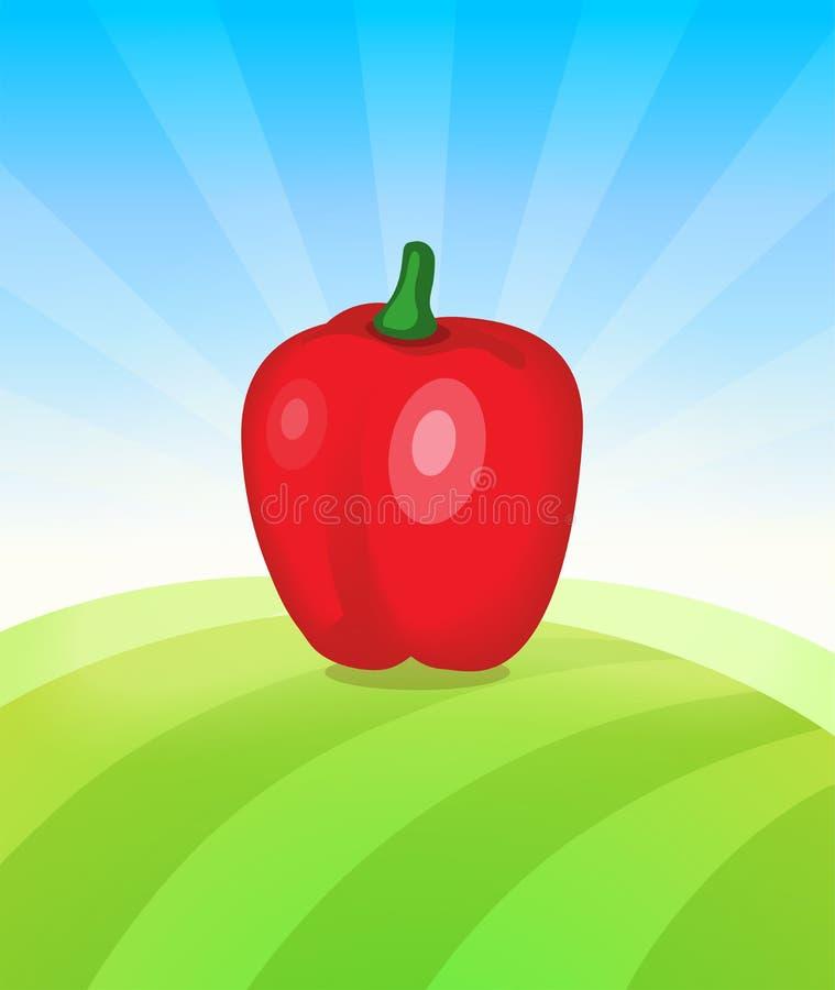 Sztandaru szablon z pieprzem - warzywa handluj? plakat ilustracja wektor