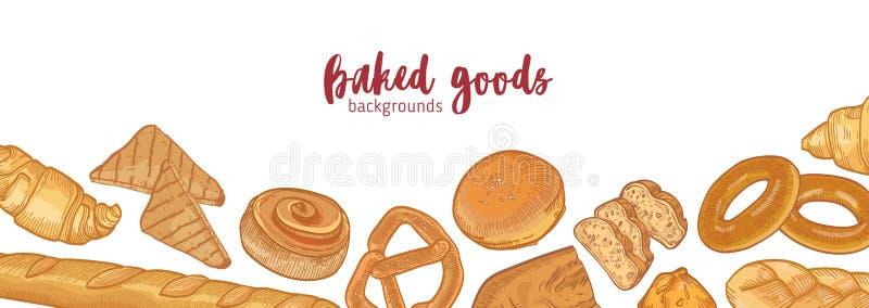 Sztandaru szablon z różnorodnymi typami chleby, wyśmienicie naturalni piec towary lub słodki domowej roboty ciasto, Realistyczna  ilustracji