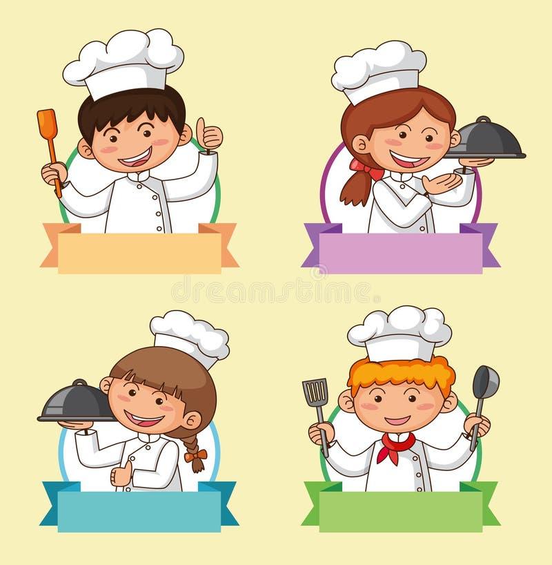 Sztandaru szablon z restauracyjnym szefem kuchni ilustracji