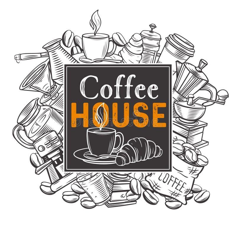 Sztandaru szablonu kawy dom ilustracji