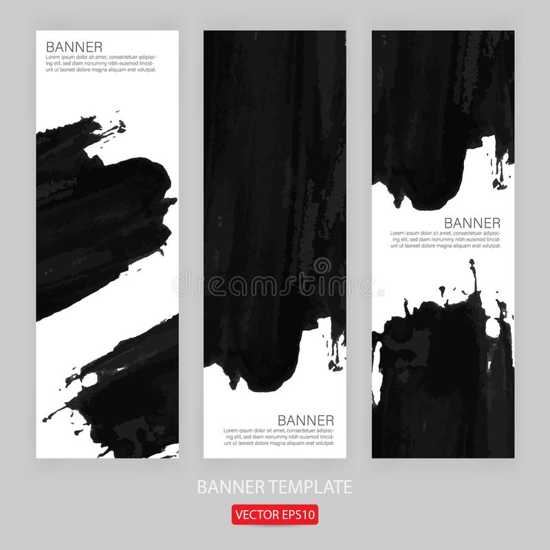 sztandaru szablonu ręka rysujący malujący porysowany grunge projekta sztandaru szablon dla promoci Ilustracja szablon o ilustracji