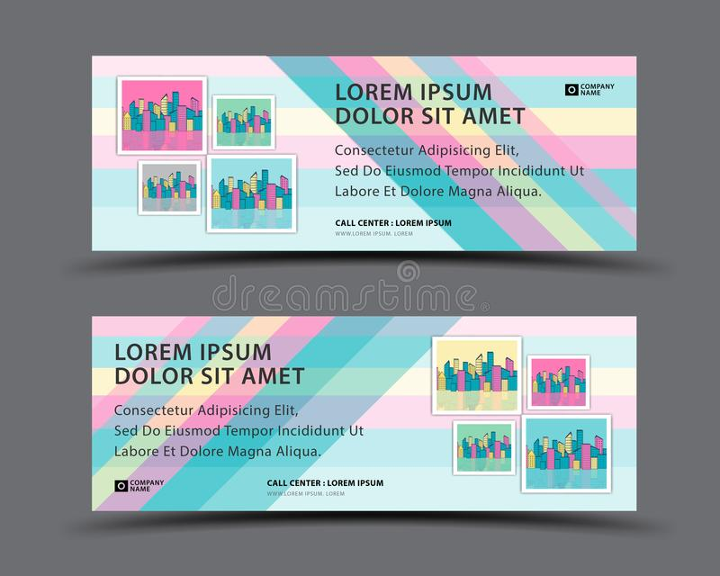 Sztandaru szablonu wektorowy pastelowy tło, sieć sztandaru szablon, billboardu projekt, chodnikowiec strona, Biznesowej ulotki ve ilustracji