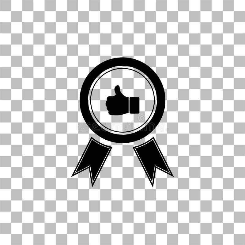 Sztandaru tasiemkowy kciuk w g?r? ikony mieszkania ilustracja wektor
