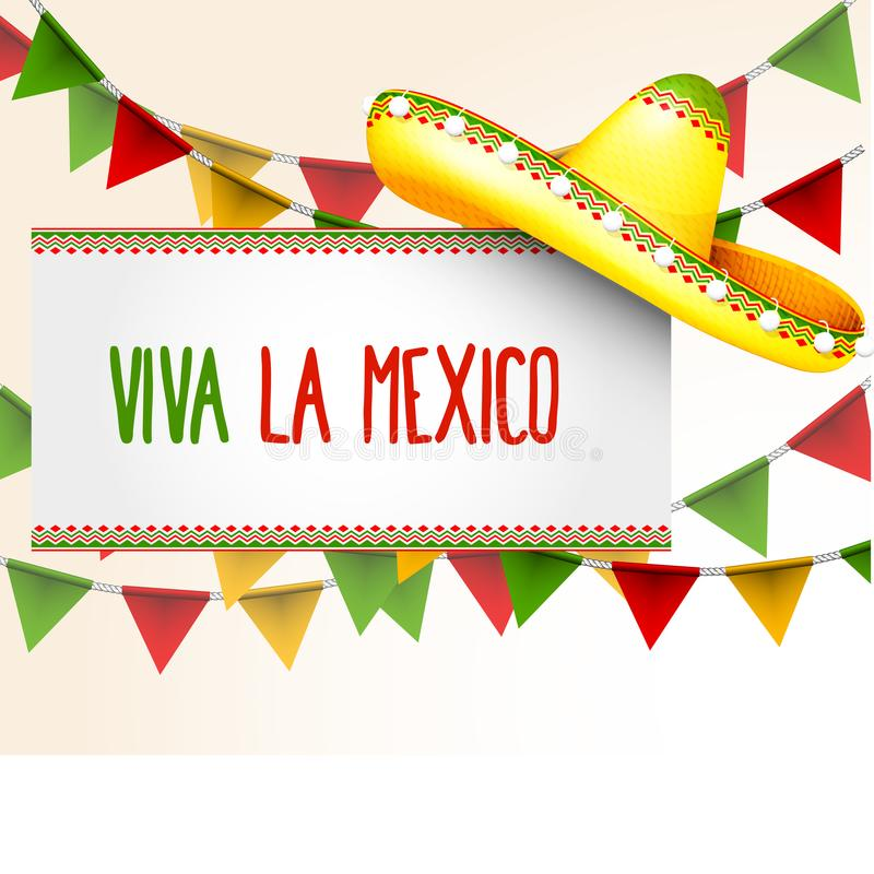 Sztandaru viva los angeles Meksyk - sombrero i trójbok chorągiewka zaznaczamy ilustracja wektor