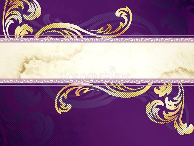 sztandaru wiktoriański złocisty horyzontalny purpurowy ilustracja wektor