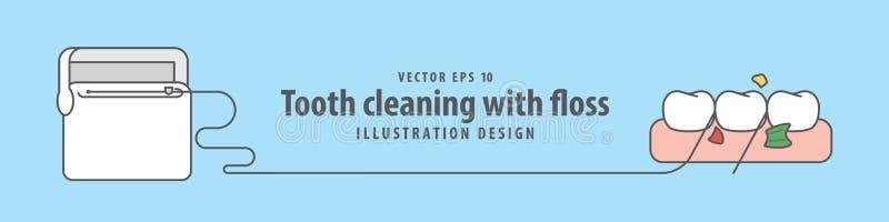 Sztandaru zębu cleaning z floss ilustracyjnym wektorem na błękicie royalty ilustracja