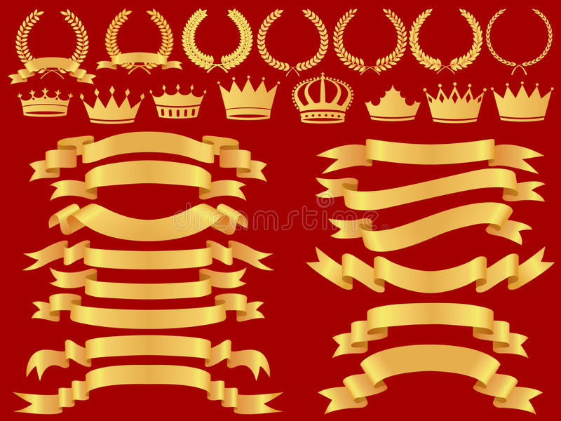 sztandaru złota set royalty ilustracja