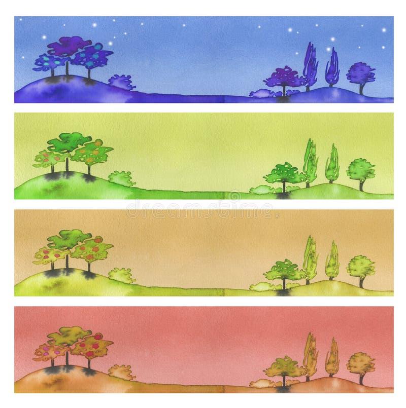 sztandary cztery ilustracji