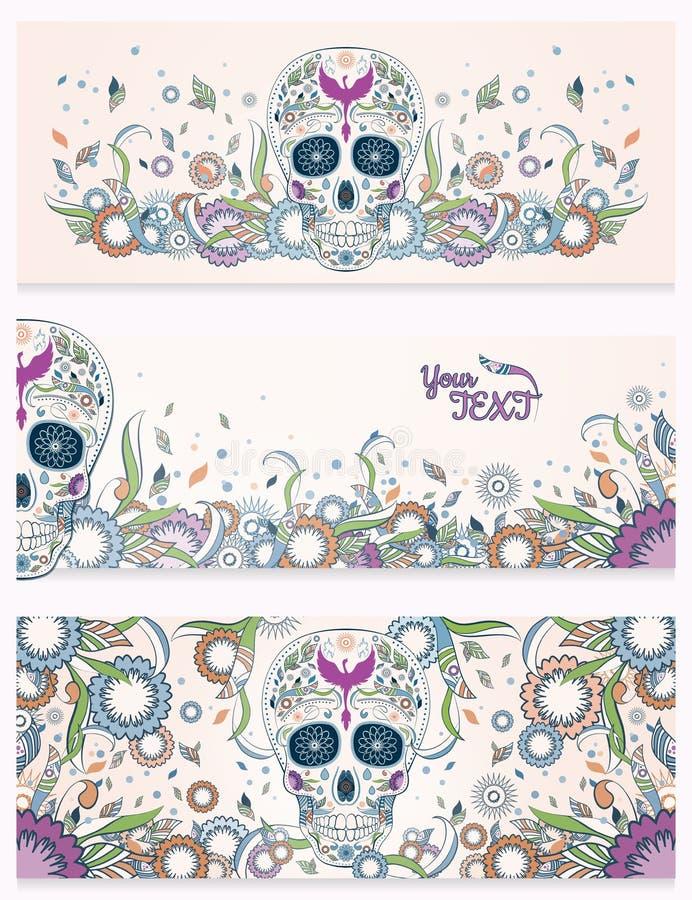 Sztandary Dia De Muertos cukrowa czaszka z ozdobnym na abstrakcjonistycznym kwiecistym ornamentacyjnym wiosny tle dzień nie żyje zdjęcia stock